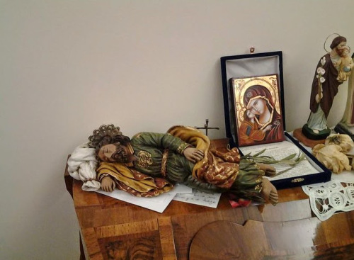 """photograph of the current St. Joseph """"prayer space"""" or shrine that the Holy Father has set up in his apartment at the Domus Sanctae Marthae, otherwise known as the """"Vatican Hotel"""""""